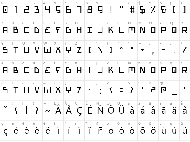 Bionic Type Character Map