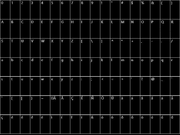 Glitter Font Character Map