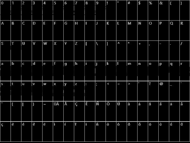 Hondafont Character Map