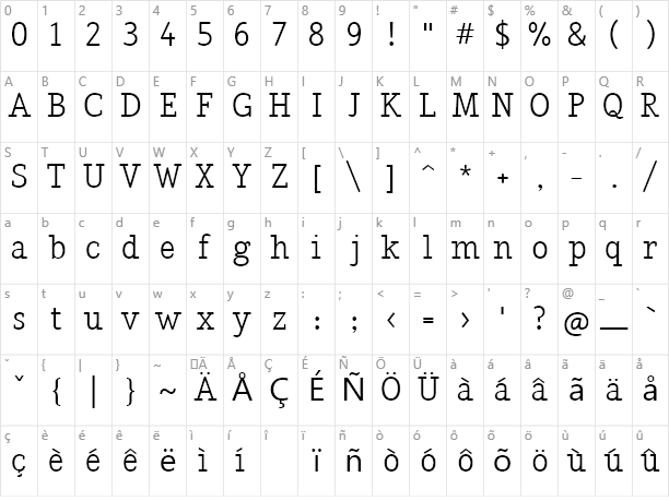 Nadia Serif Character Map