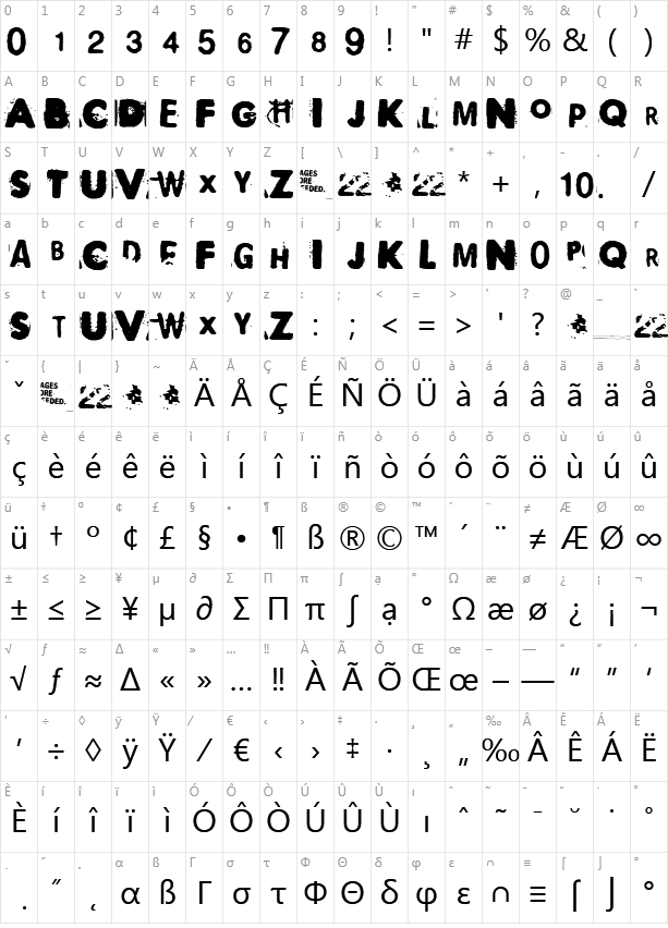 Polaroid 22 Character Map